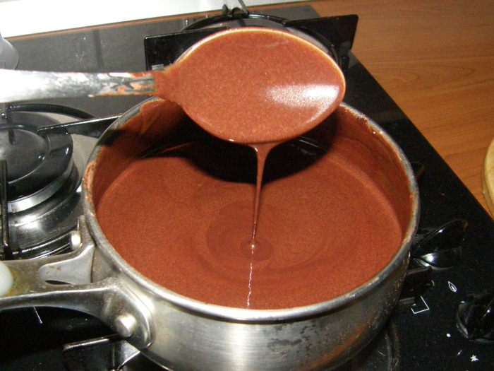 приготовление шоколадной глазури.